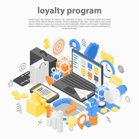Loyalty program concept background. Isometric illustration of loyalty program vector concept background for web design