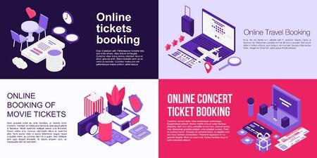 Online tickets booking banner set. Isometric set of online tickets booking vector banner for web design