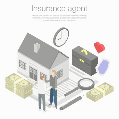 Insurance agent concept background. Isometric illustration of insurance agent vector concept background for web design