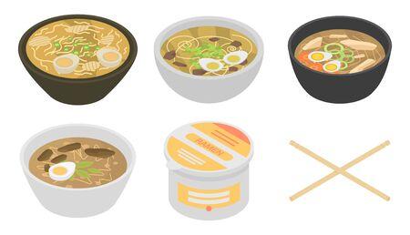 Ramen icons set, isometric style Illusztráció