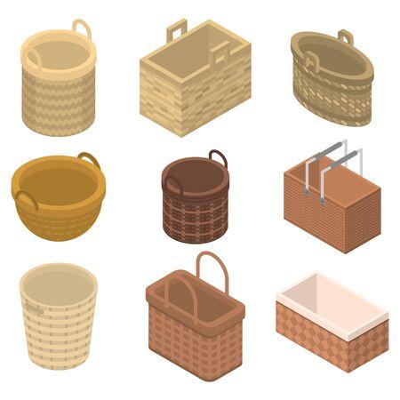Wicker icons set, isometric style 向量圖像