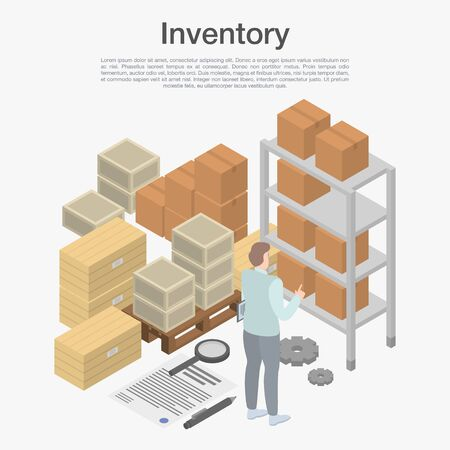 Inventory concept background, isometric style