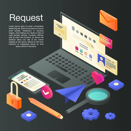 Request concept background, isometric style Illustration