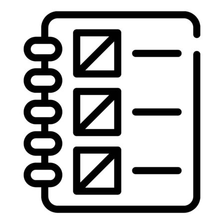 Notebook with a list icon. Outline notebook with a list vector icon for web design isolated on white background