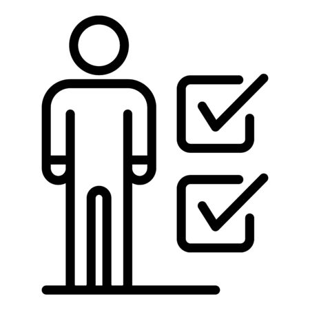Human figure and checkboxes icon. Outline human figure and checkboxes vector icon for web design isolated on white background