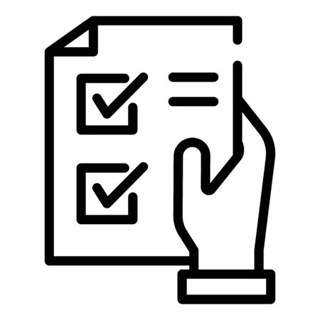 Shopping list in hand icon. Outline shopping list in hand vector icon for web design isolated on white background Illustration