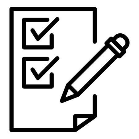 Pencil and checkbox list icon. Outline pencil and checkbox list vector icon for web design isolated on white background