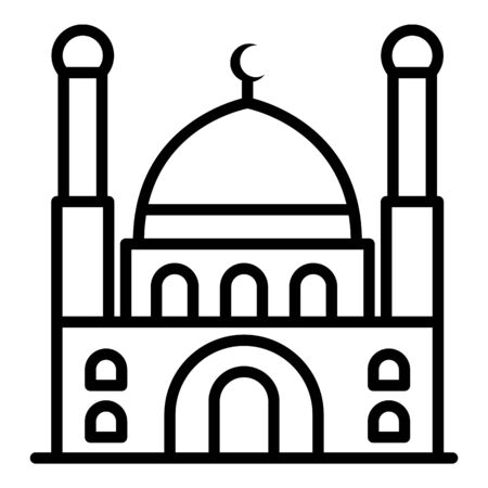 Turkish mosque icon, outline style Illustration