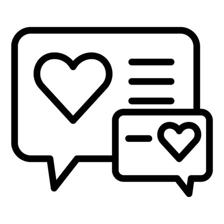 Heart in chat bubbles icon. Outline heart in chat bubbles vector icon for web design isolated on white background