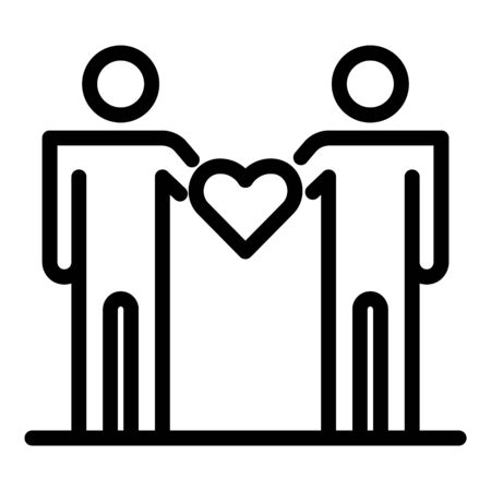 People hold heart icon. Outline people hold heart vector icon for web design isolated on white background Banque d'images - 130253975