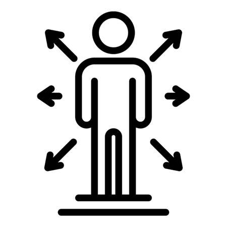 Icona umana e frecce. Profilo umano e frecce icona vettore per il web design isolato su sfondo bianco