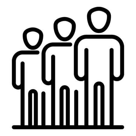 People in a row icon. Outline people in a row vector icon for web design isolated on white background