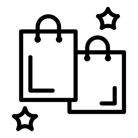 Shopping bags icon. Outline shopping bags vector icon for web design isolated on white background