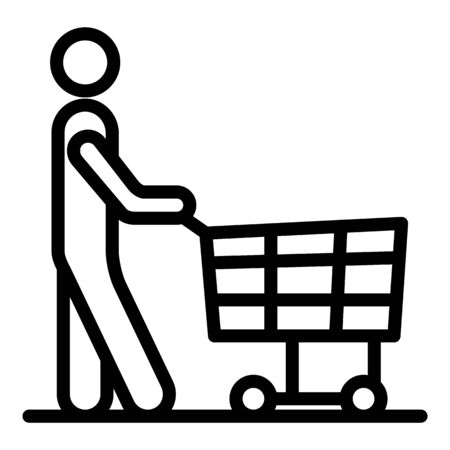 Man with a shopping trolley icon. Outline man with a shopping trolley vector icon for web design isolated on white background Illustration