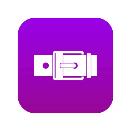Belt with square buckle icon digital purple for any design isolated on white vector illustration Çizim