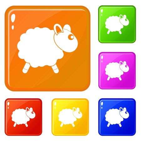 Sheep icons set collection vector 6 color isolated on white background