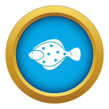 Flounder fish icon blue vector isolated on white background for any design