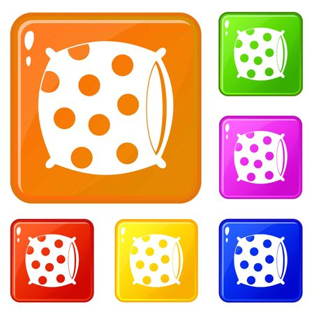 Pillow with dots icons set collection vector 6 color isolated on white background
