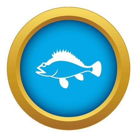 Rose fish, Sebastes norvegicus icon blue vector isolated on white background for any design