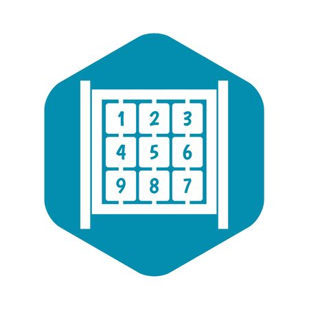 Cubes with numbers on playground icon. Simple illustration of cubes with numbers on playground vector icon for web