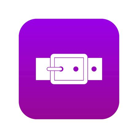 Black buckle belt icon digital purple for any design isolated on white vector illustration