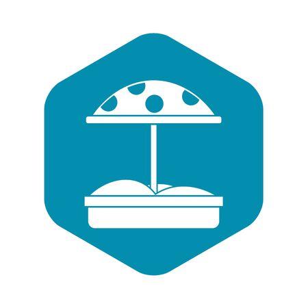 Sandkasten mit gepunktetem Regenschirmsymbol. Einfache Illustration des Sandkastens mit punktierter Regenschirmvektorikone für Netz