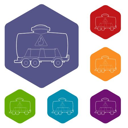 Railroad tank icon, outline style