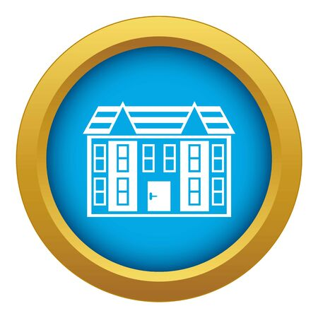 Large two-storey house icon blue vector isolated