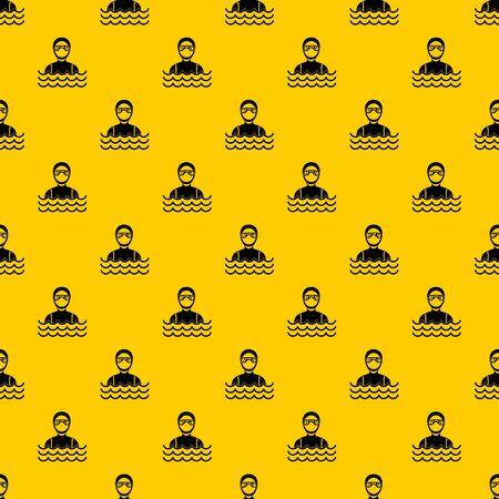 Taucher Mann im Taucheranzug Muster nahtlose Vektor wiederholen geometrisches Gelb für jedes Design Vektorgrafik