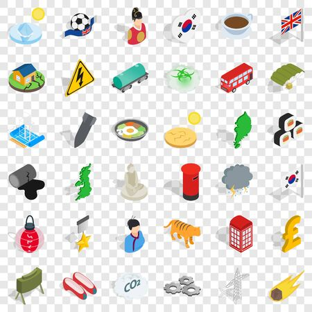 History icons set. Isometric style of 36 history vector icons for web for any design