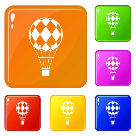 Checkered air balloon icons set collection vector 6 color isolated on white background
