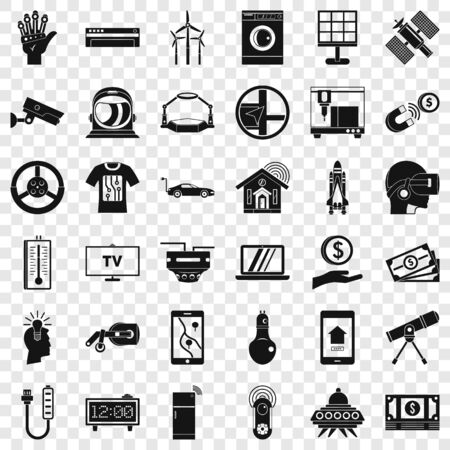 Telescope icons set, simple style