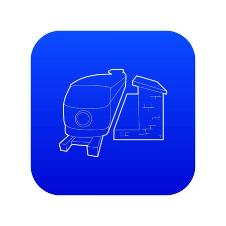 Train icon blue vector