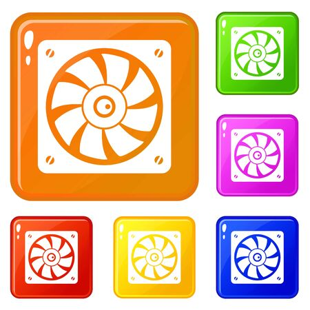 Computer fan icons set collection vector 6 color isolated on white background Illustration