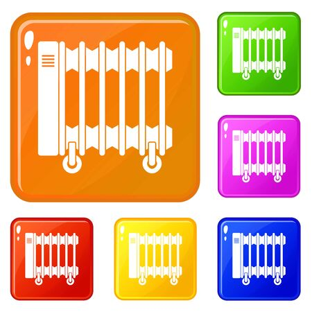 Oil electric heater on wheels icons set collection vector 6 color isolated on white background Illustration