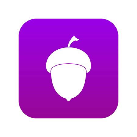 Acorn icon digital purple for any design isolated on white vector illustration