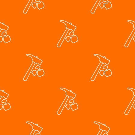 Minning hand hammer pattern vector orange for any web design best