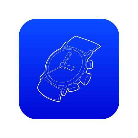 Watch icon blue vector Vectores