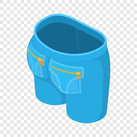 Short jeans icon. Isometric illustration of short jeans vector icon for web Çizim