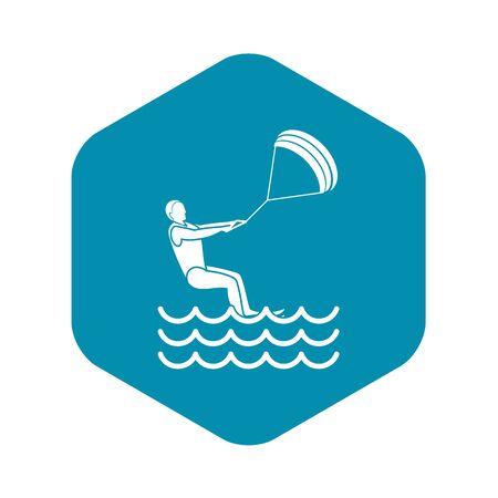 man takes part at kitesurfing icon, simple style Illustration