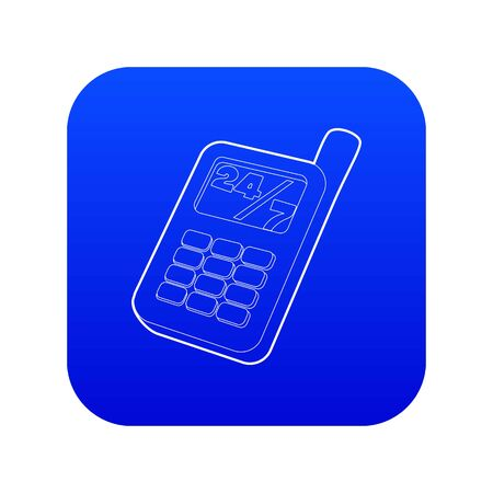 Mobile phone icon blue vector