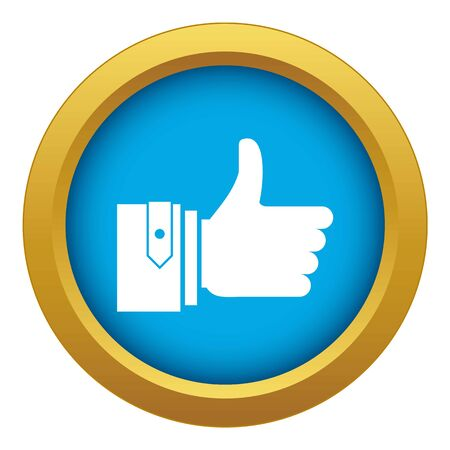 Thumbs up icon blue vector isolated on white background for any design