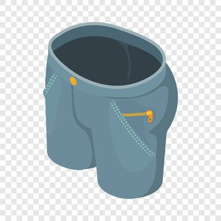 Gray short jeans icon. Isometric illustration of gray short jeans vector icon for web