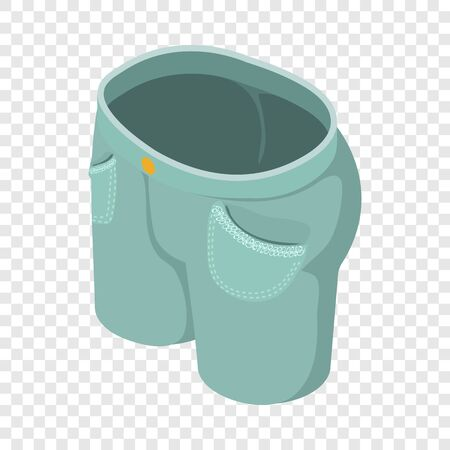 Gray green short jeans icon. Isometric illustration of gray green short jeans vector icon for web