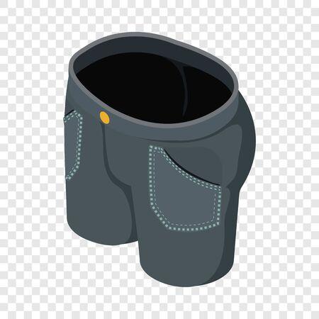 Black short jeans icon. Isometric illustration of black short jeans vector icon for web Çizim