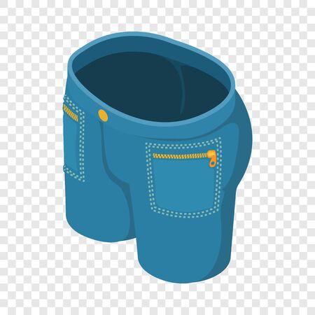 Dark blue short jeans icon. Isometric illustration of dark blue short jeans vector icon for web
