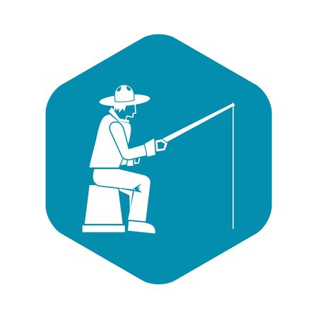 Fisherman with a fishing rod icon. Simple illustration of fisherman with a fishing rod vector icon for web