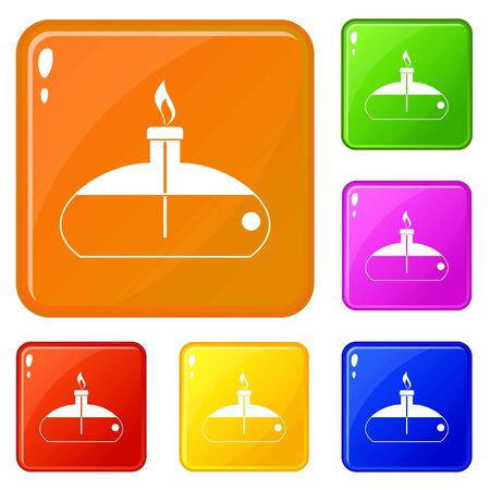 Spiritlamp icons set collection vector 6 color isolated on white background Illustration