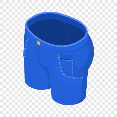 Light blue short jeans icon. Isometric illustration of light blue short jeans vector icon for web