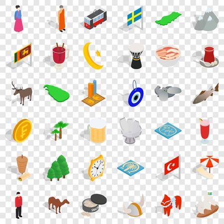 Holiday icons set, isometric style Ilustração